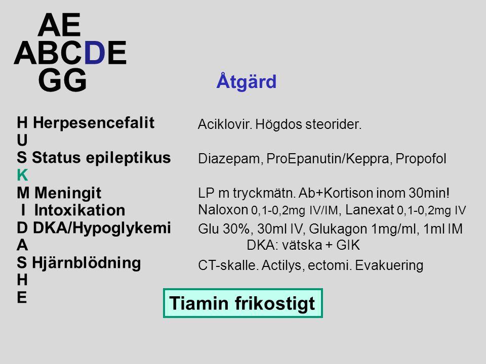 AE ABCDE GG Åtgärd Tiamin frikostigt H Herpesencefalit U