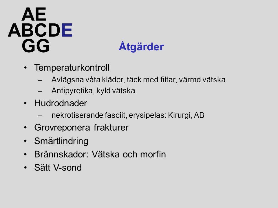 AE ABCDE GG Åtgärder Temperaturkontroll Hudrodnader