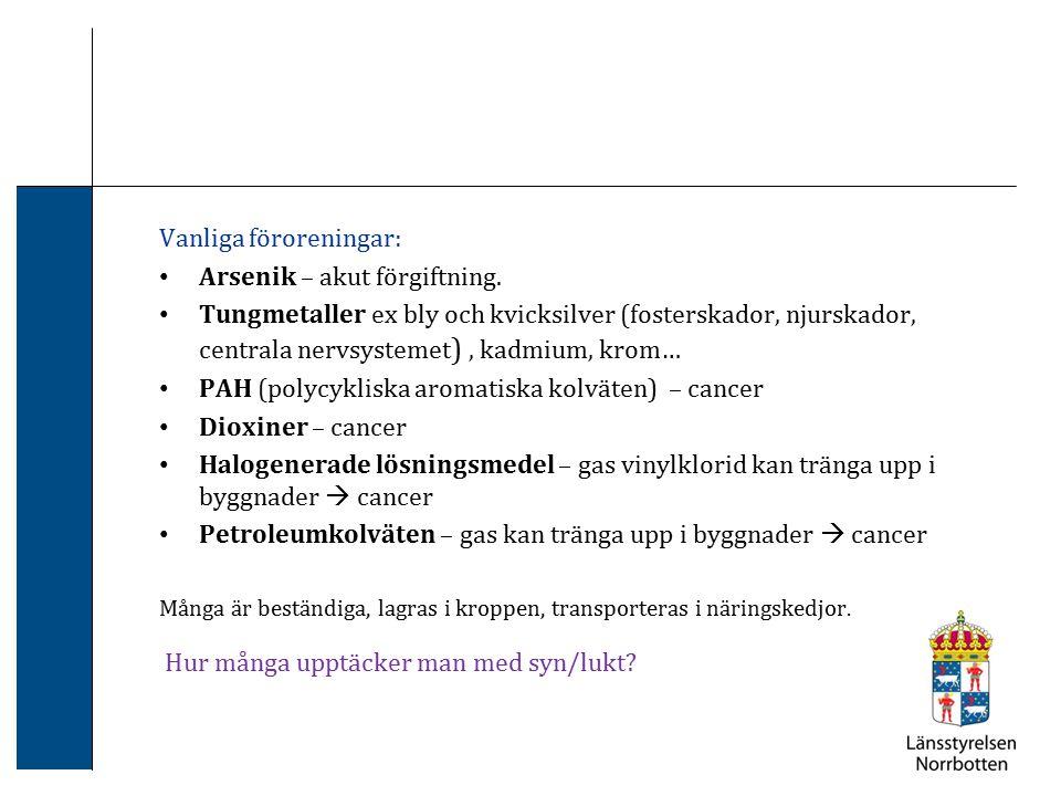 Vanliga föroreningar: Arsenik – akut förgiftning.