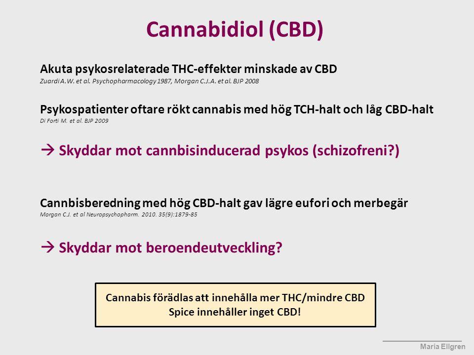 Cannabidiol (CBD)  Skyddar mot cannbisinducerad psykos (schizofreni )