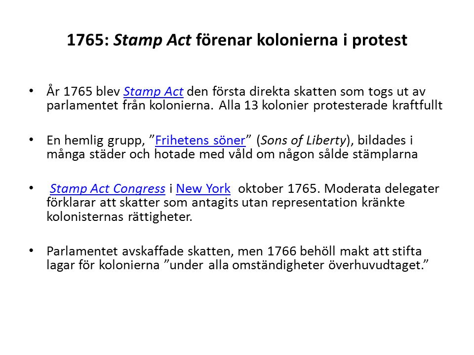 1765: Stamp Act förenar kolonierna i protest