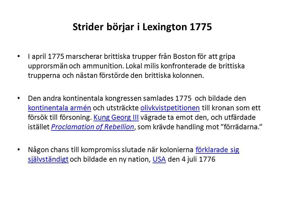Strider börjar i Lexington 1775