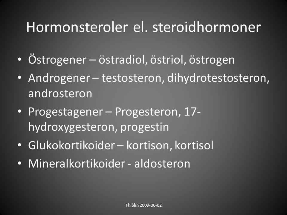 Hormonsteroler el. steroidhormoner