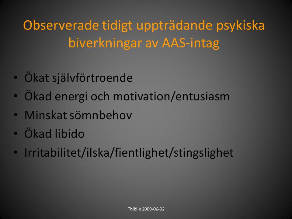 Observerade tidigt uppträdande psykiska biverkningar av AAS-intag