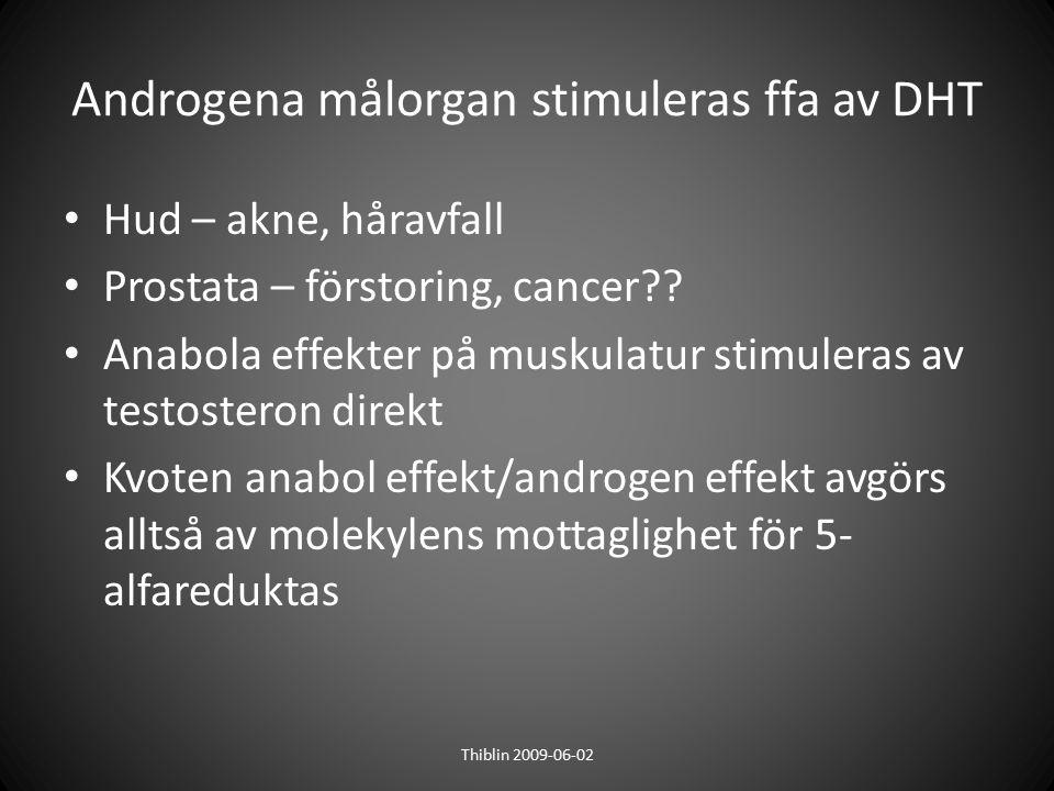Androgena målorgan stimuleras ffa av DHT