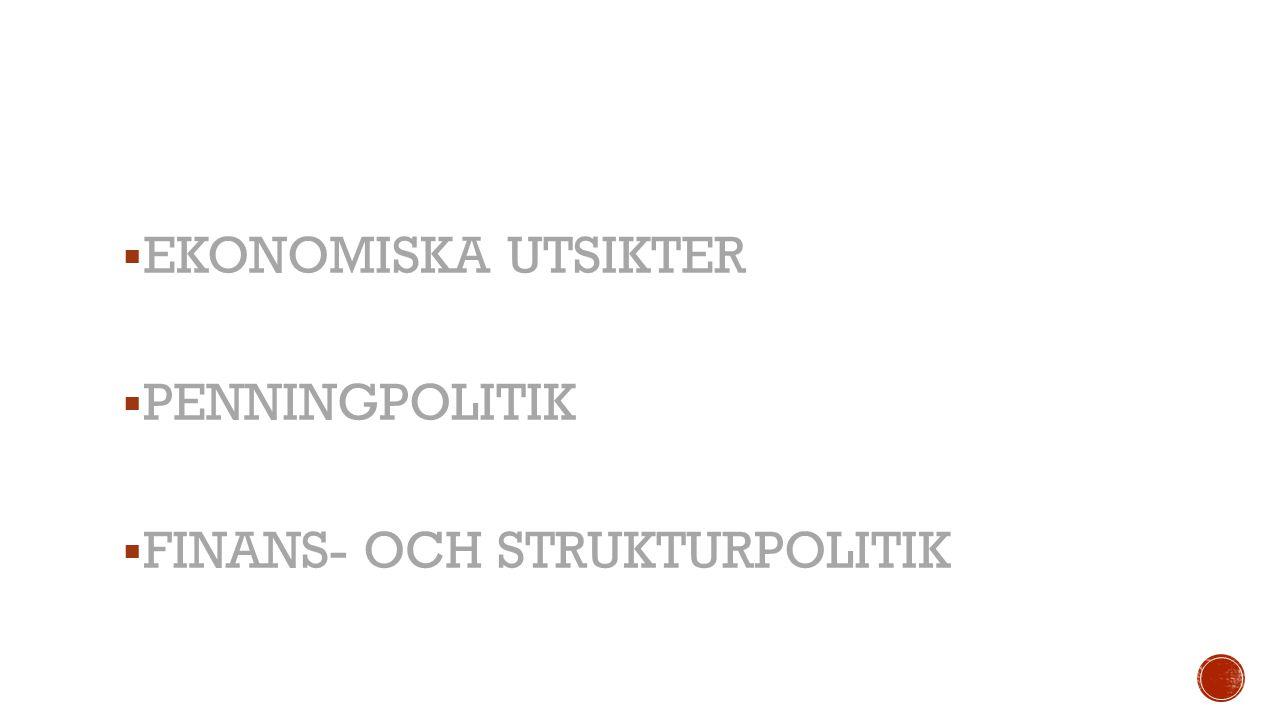 EKONOMISKA UTSIKTER PENNINGPOLITIK FINANS- OCH STRUKTURPOLITIK