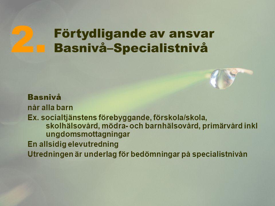 2. Förtydligande av ansvar Basnivå–Specialistnivå Basnivå
