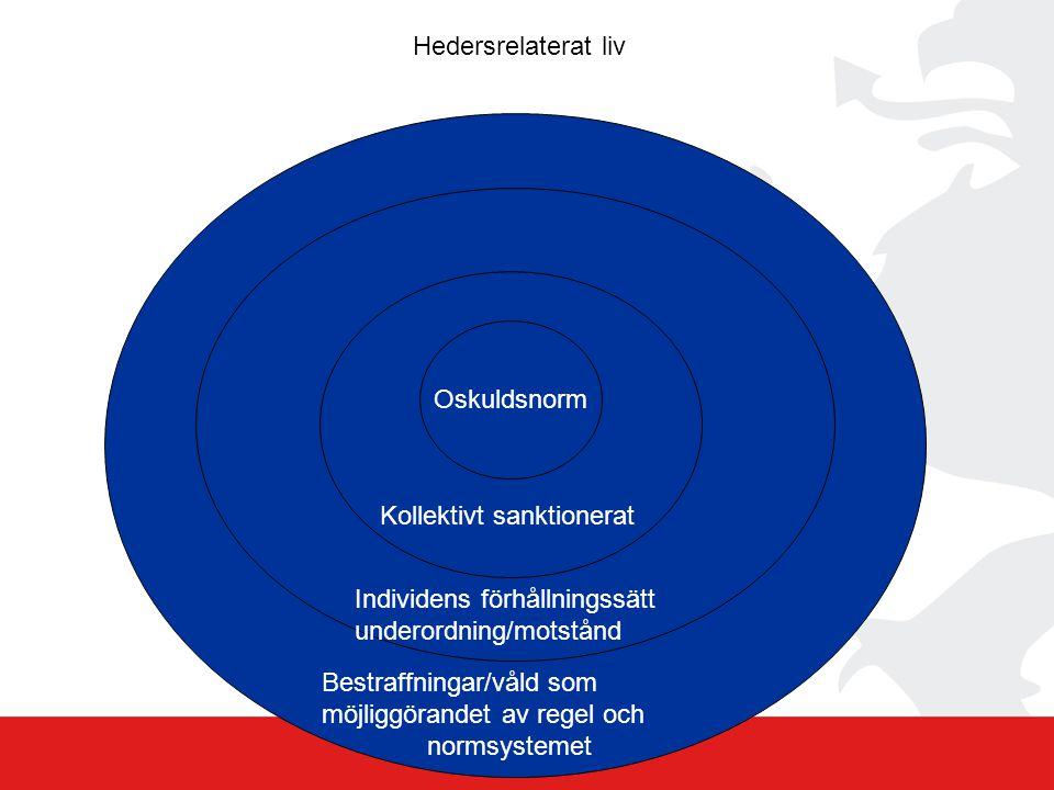 Hedersrelaterat liv Oskuldsnorm. Kollektivt sanktionerat. Individens förhållningssätt. underordning/motstånd.
