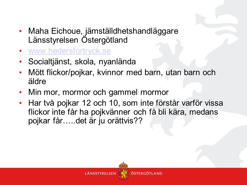 Maha Eichoue, jämställdhetshandläggare Länsstyrelsen Östergötland