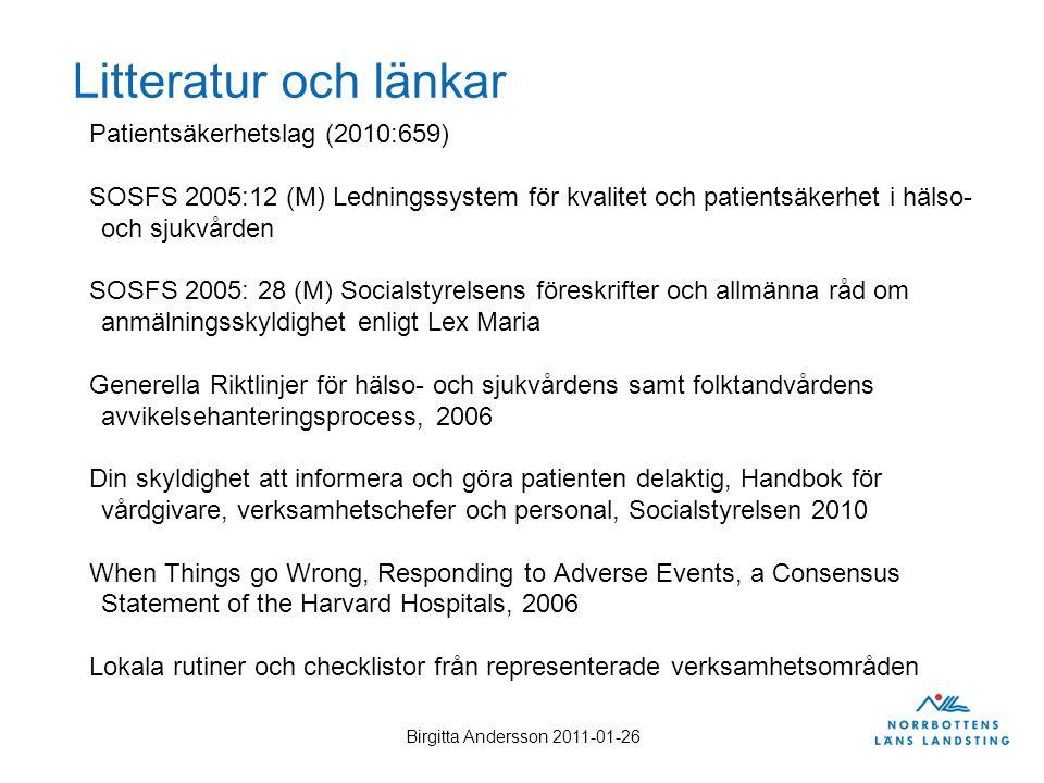 Litteratur och länkar Patientsäkerhetslag (2010:659)