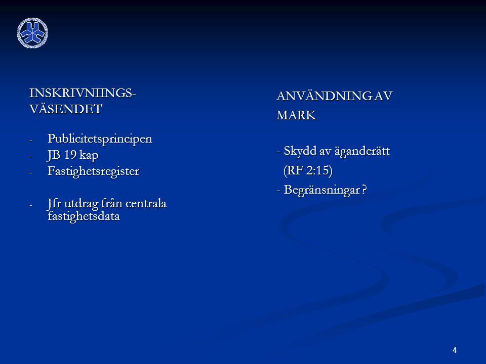 INSKRIVNIINGS- VÄSENDET. Publicitetsprincipen. JB 19 kap. Fastighetsregister. Jfr utdrag från centrala fastighetsdata.