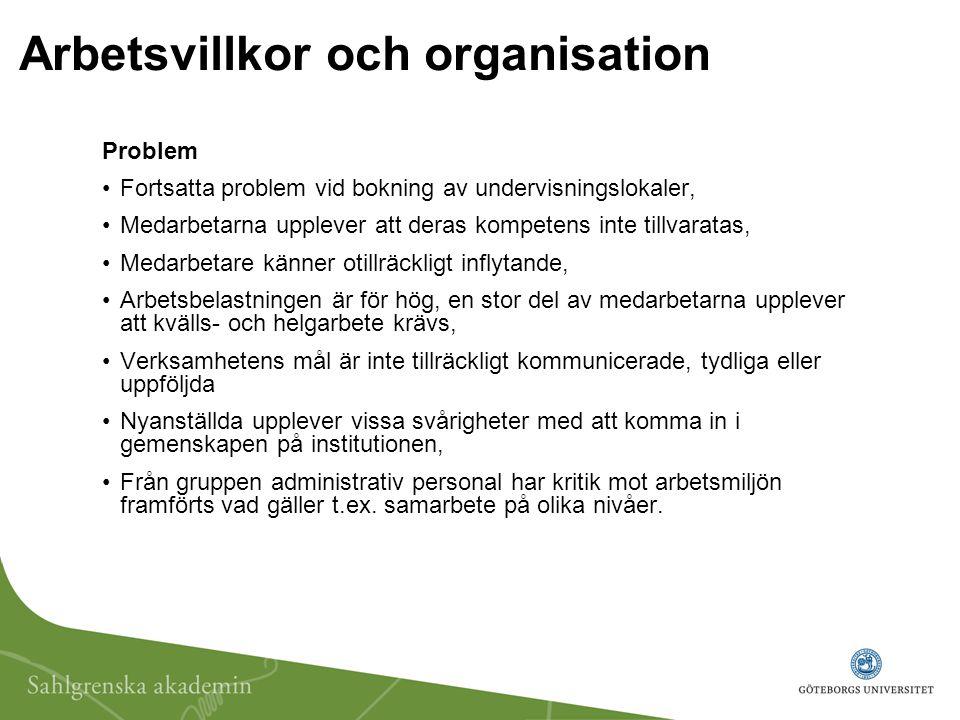 Arbetsvillkor och organisation