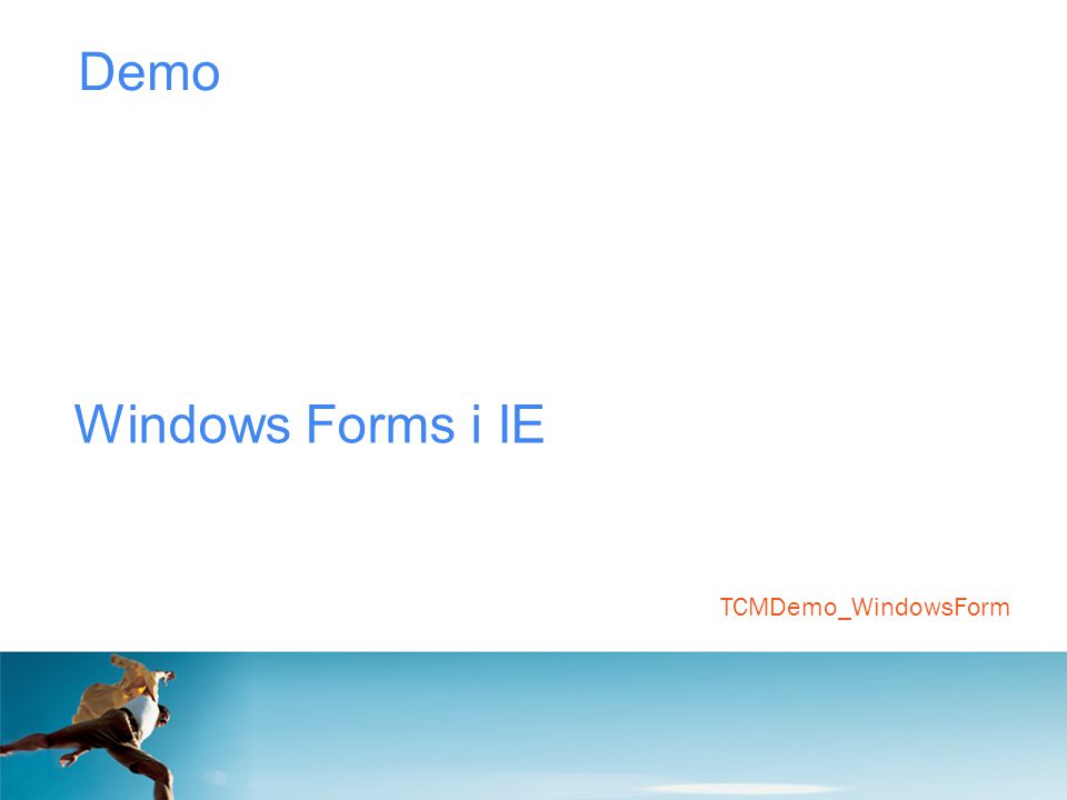 Demo Windows Forms i IE TCMDemo_WindowsForm