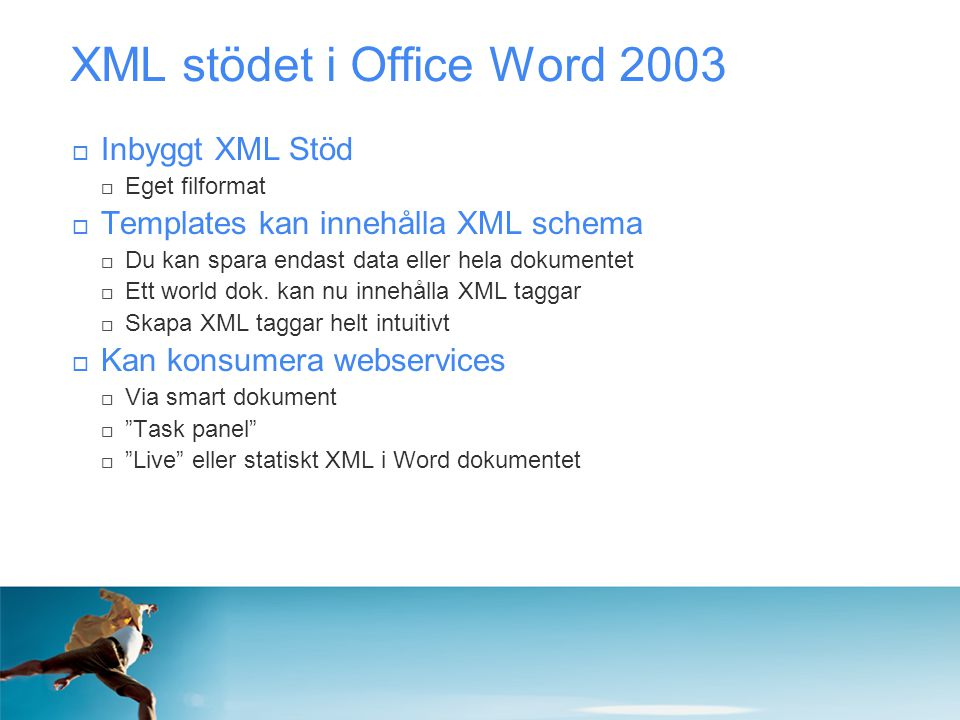 XML stödet i Office Word 2003