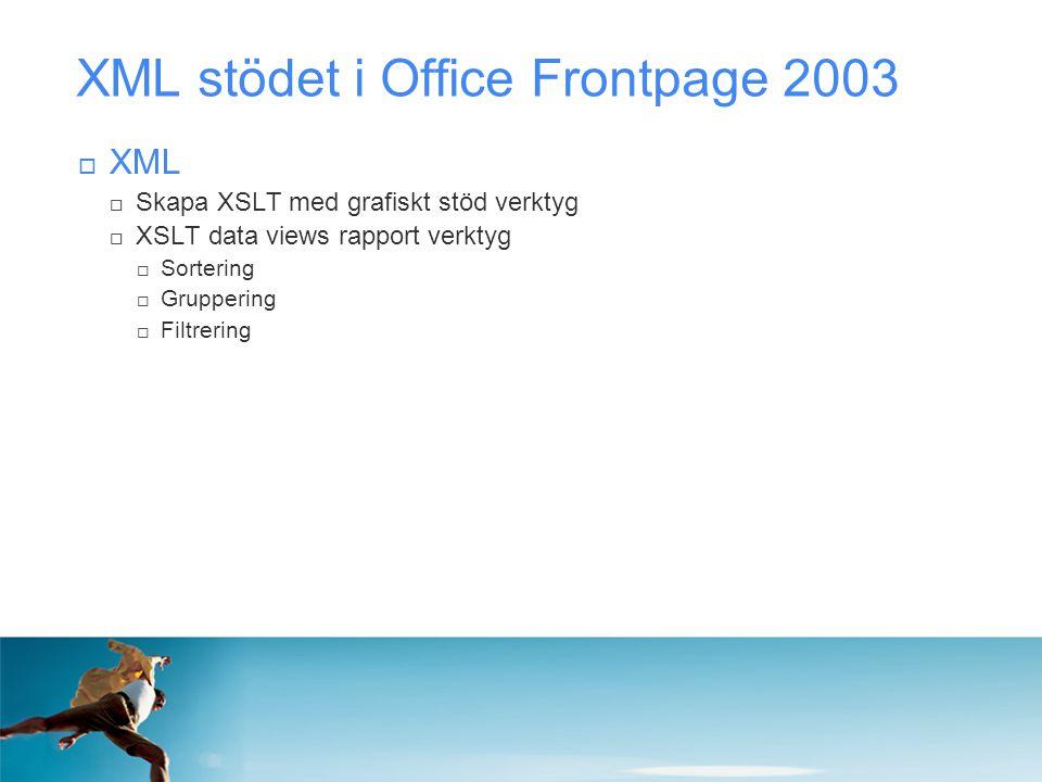 XML stödet i Office Frontpage 2003