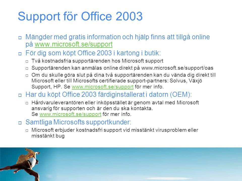 Support för Office 2003 Mängder med gratis information och hjälp finns att tillgå online på www.microsoft.se/support.