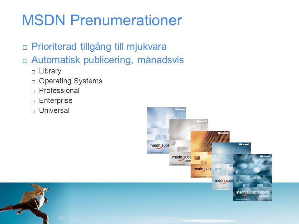 MSDN Prenumerationer Prioriterad tillgång till mjukvara