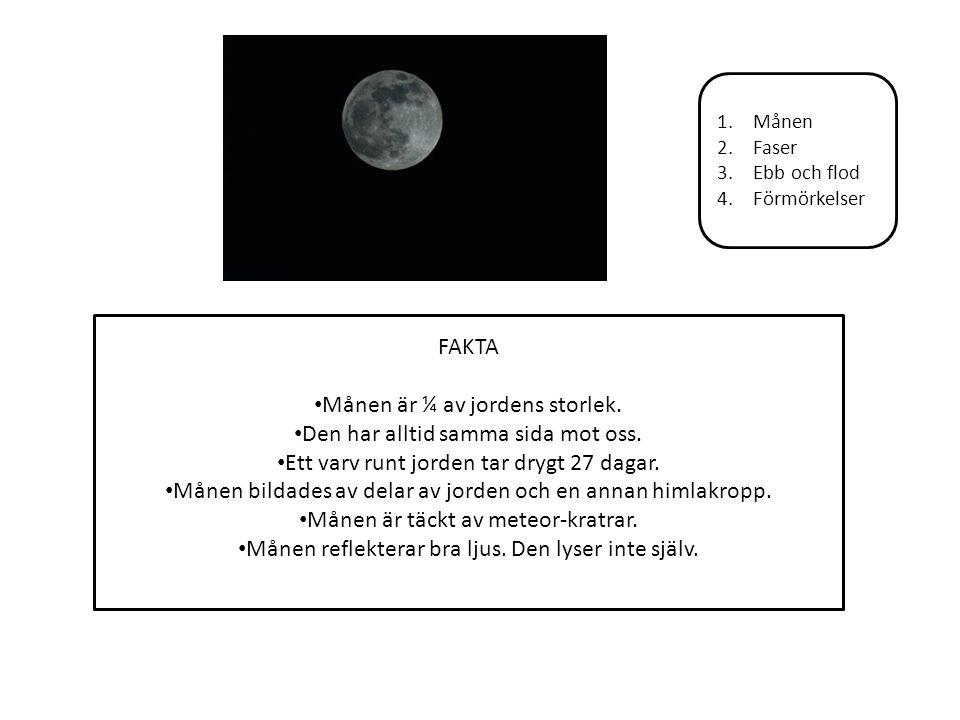 Månen är ¼ av jordens storlek. Den har alltid samma sida mot oss.