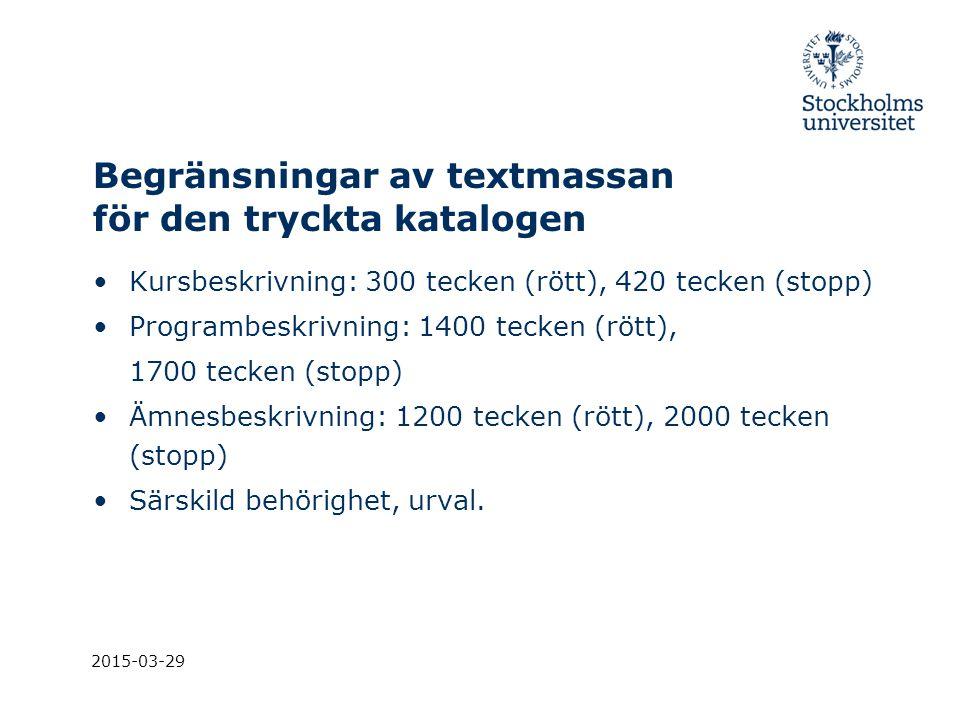 Begränsningar av textmassan för den tryckta katalogen