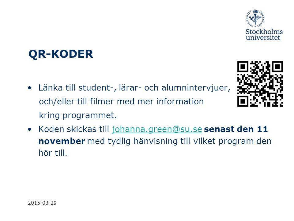 QR-KODER Länka till student-, lärar- och alumnintervjuer,