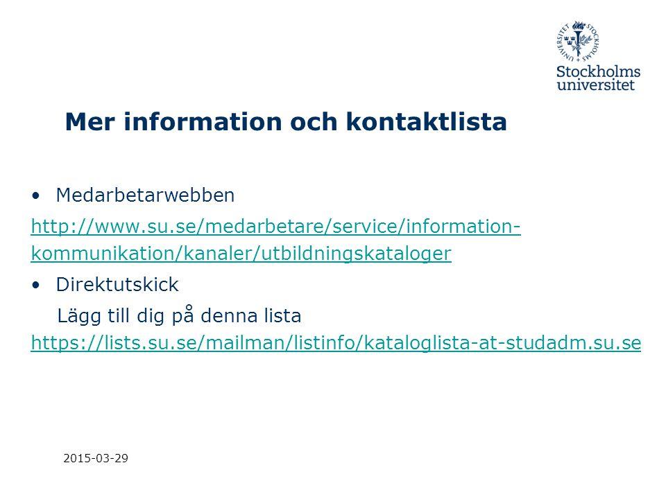 Mer information och kontaktlista