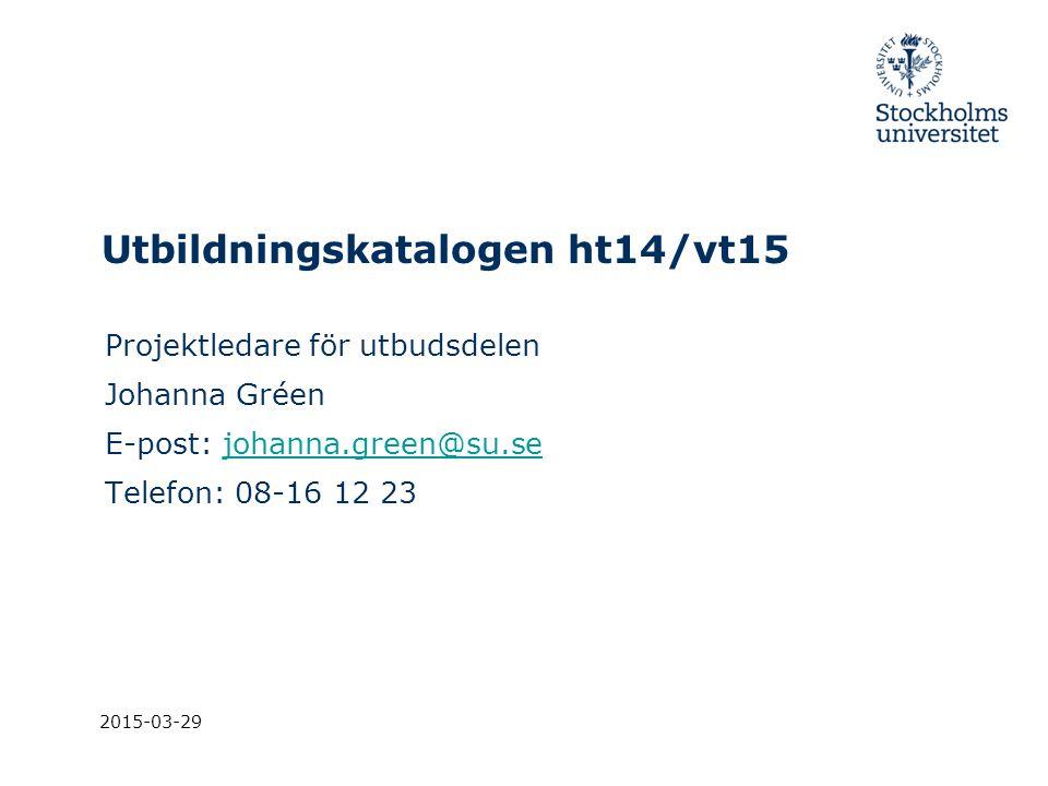 Utbildningskatalogen ht14/vt15