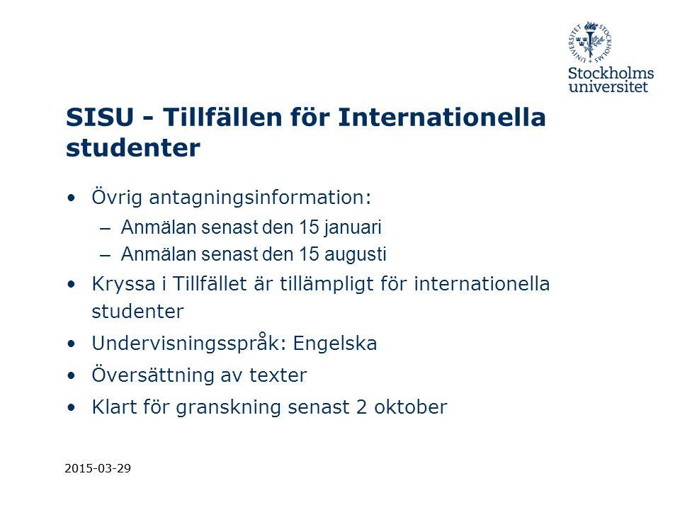 SISU - Tillfällen för Internationella studenter