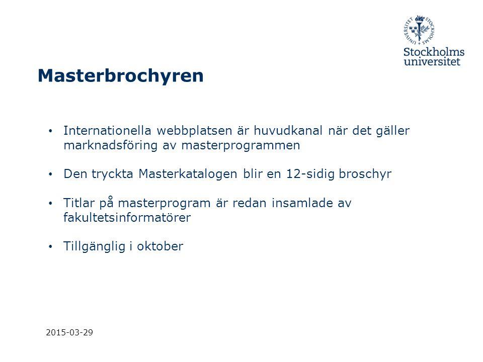 Masterbrochyren Internationella webbplatsen är huvudkanal när det gäller marknadsföring av masterprogrammen.