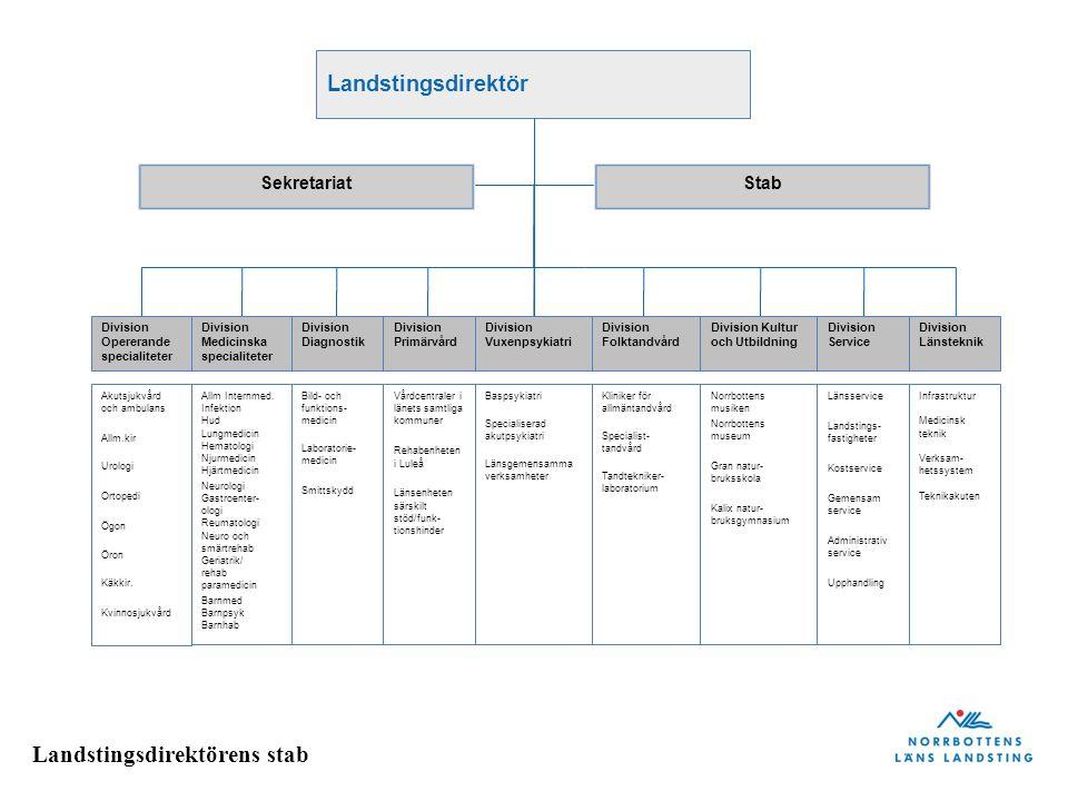 Landstingsdirektör Sekretariat Stab Division Opererande specialiteter