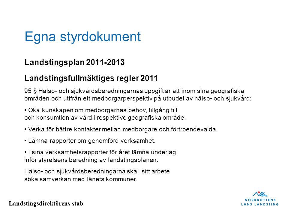 Egna styrdokument Landstingsplan 2011-2013