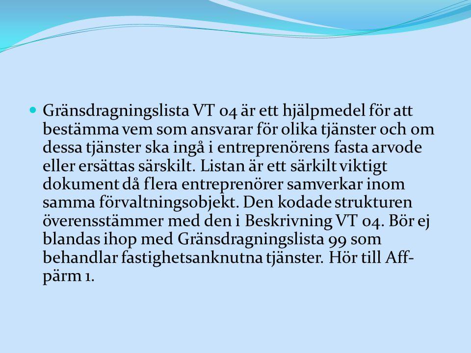 Gränsdragningslista VT 04 är ett hjälpmedel för att bestämma vem som ansvarar för olika tjänster och om dessa tjänster ska ingå i entreprenörens fasta arvode eller ersättas särskilt.