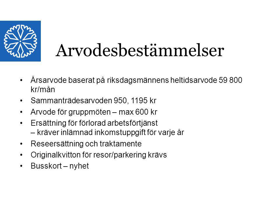 Arvodesbestämmelser Årsarvode baserat på riksdagsmännens heltidsarvode 59 800 kr/mån. Sammanträdesarvoden 950, 1195 kr.