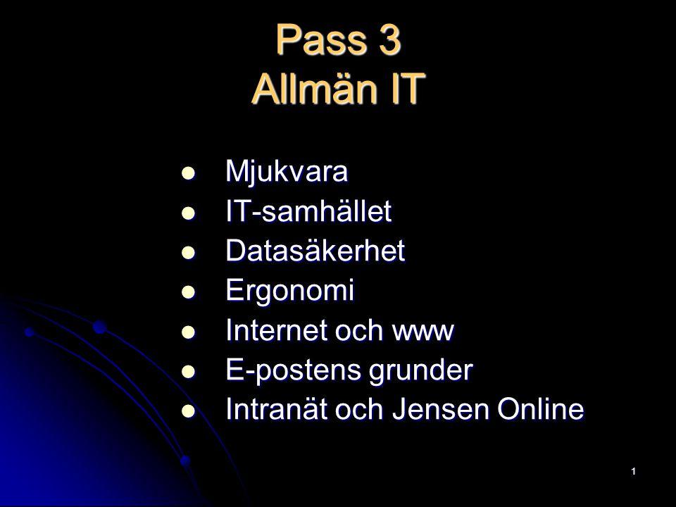 Pass 3 Allmän IT Mjukvara IT-samhället Datasäkerhet Ergonomi