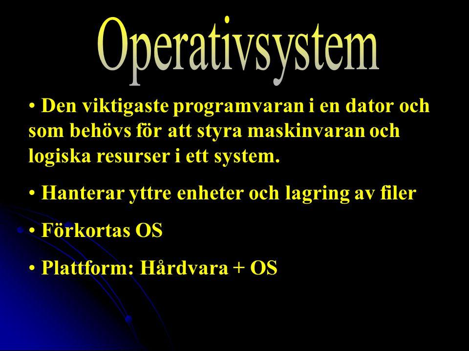 2017-04-08 Operativsystem. Den viktigaste programvaran i en dator och som behövs för att styra maskinvaran och logiska resurser i ett system.