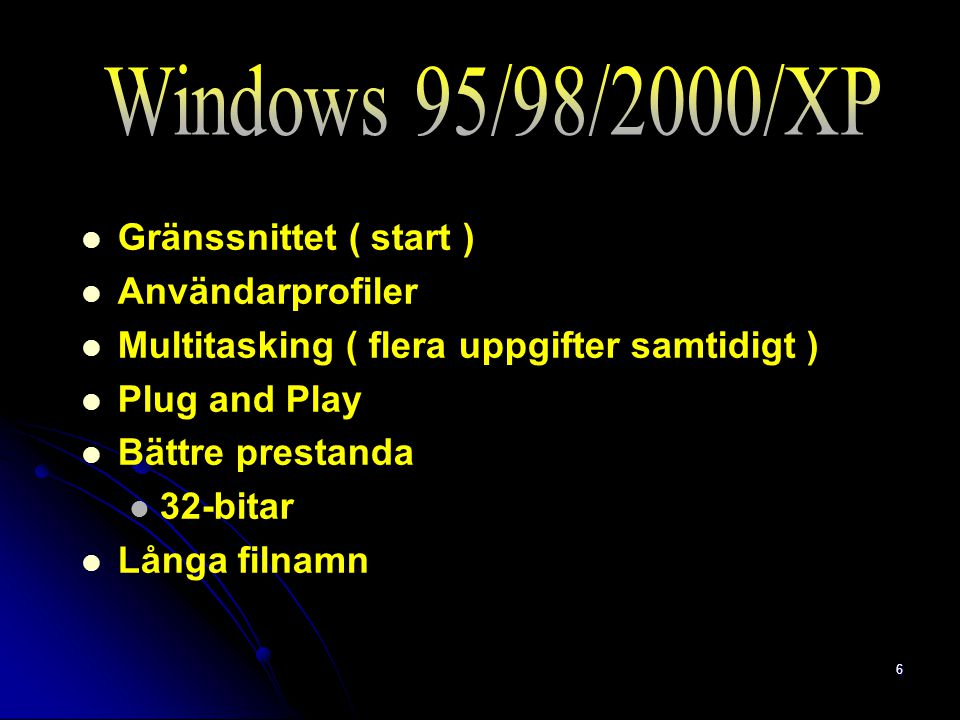 Windows 95/98/2000/XP Gränssnittet ( start ) Användarprofiler