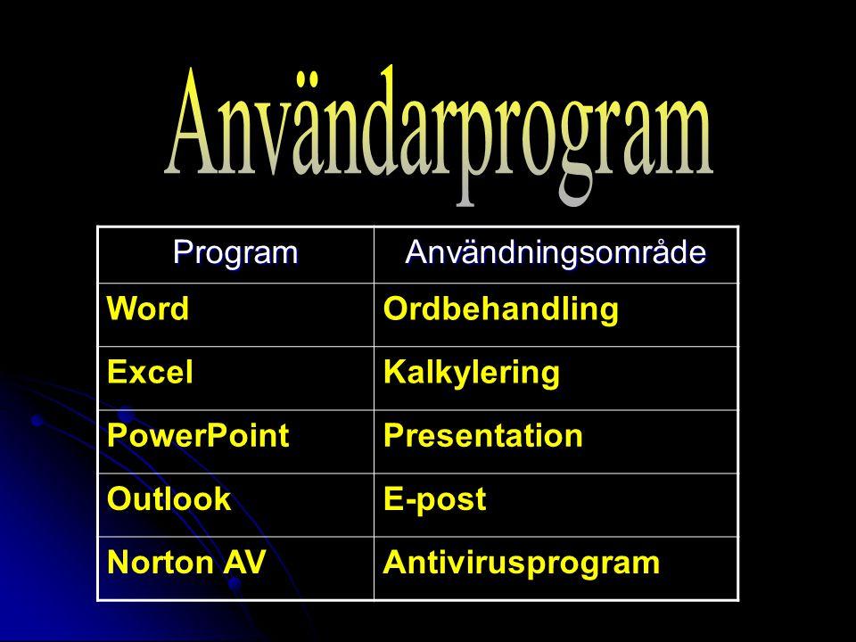 Användarprogram Program Användningsområde Word Ordbehandling Excel