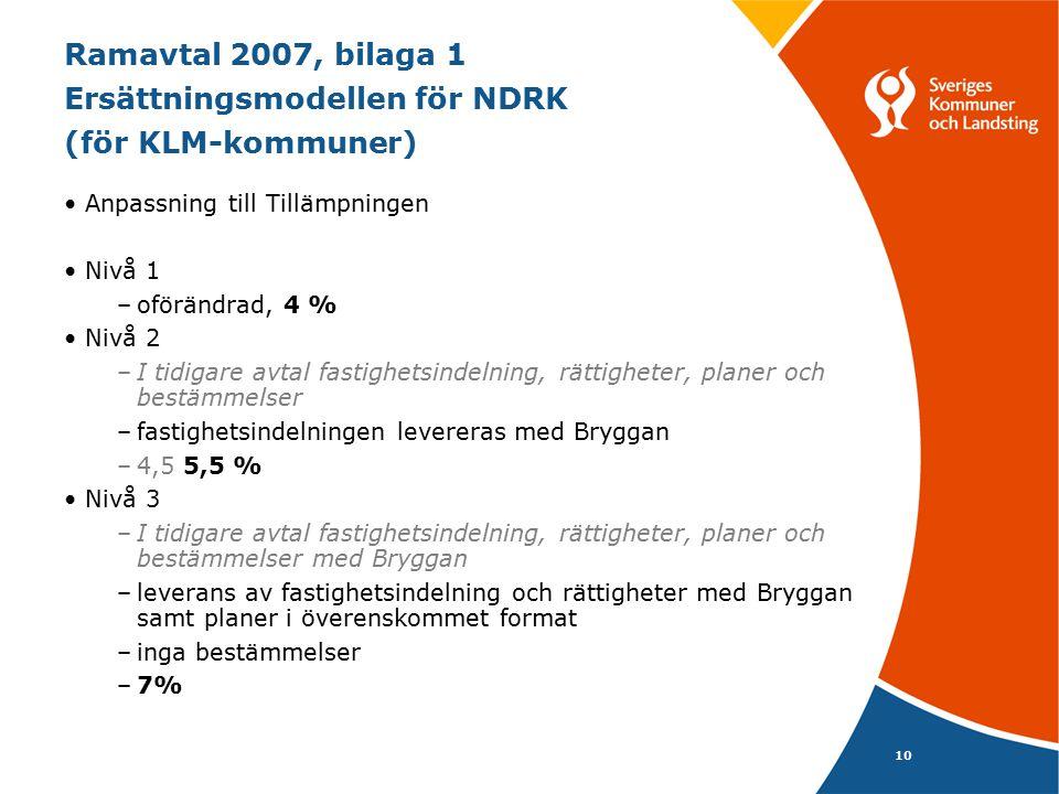 Ramavtal 2007, bilaga 1 Ersättningsmodellen för NDRK (för KLM-kommuner)