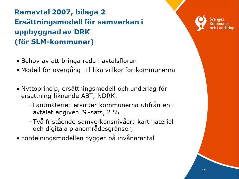 Ramavtal 2007, bilaga 2 Ersättningsmodell för samverkan i uppbyggnad av DRK (för SLM-kommuner)