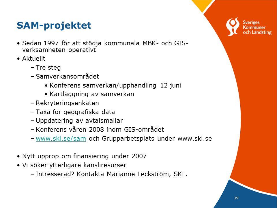 SAM-projektet Sedan 1997 för att stödja kommunala MBK- och GIS-verksamheten operativt. Aktuellt. Tre steg.