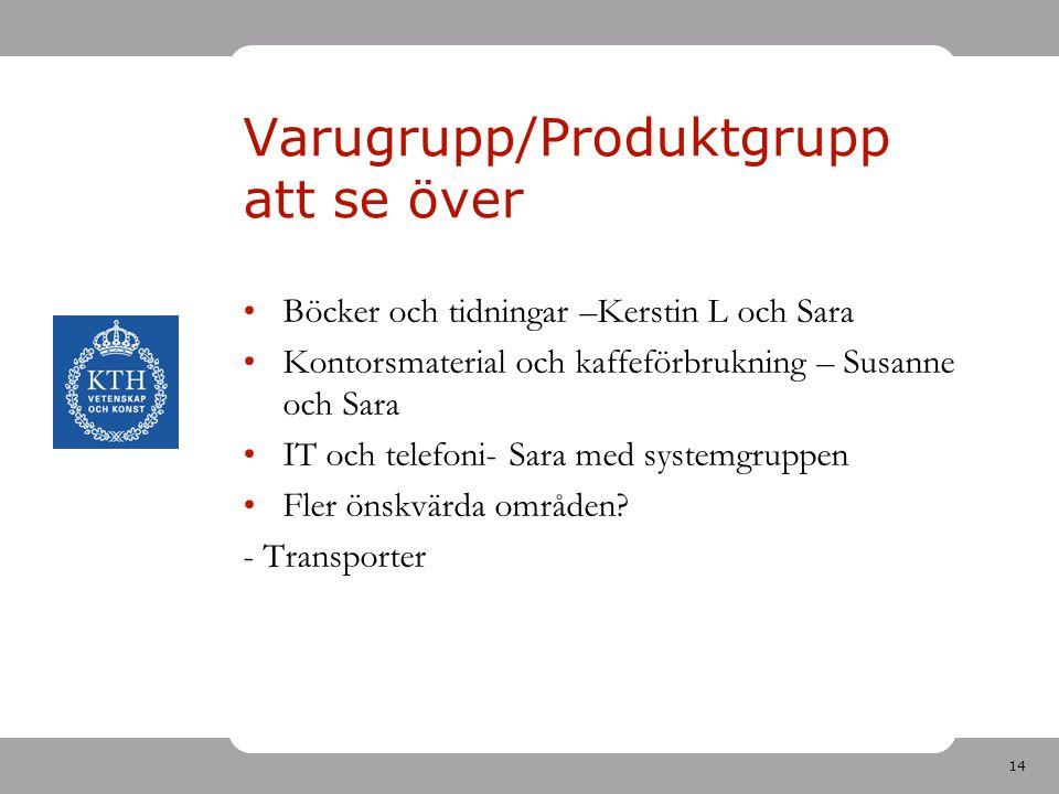 Varugrupp/Produktgrupp att se över