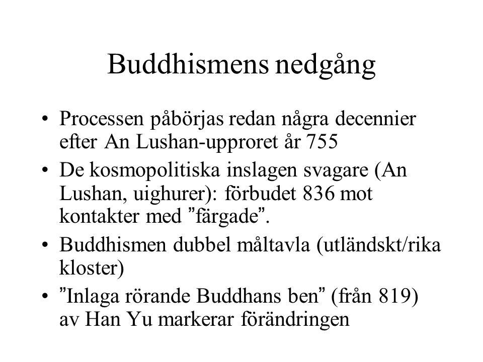 Buddhismens nedgång Processen påbörjas redan några decennier efter An Lushan-upproret år 755.