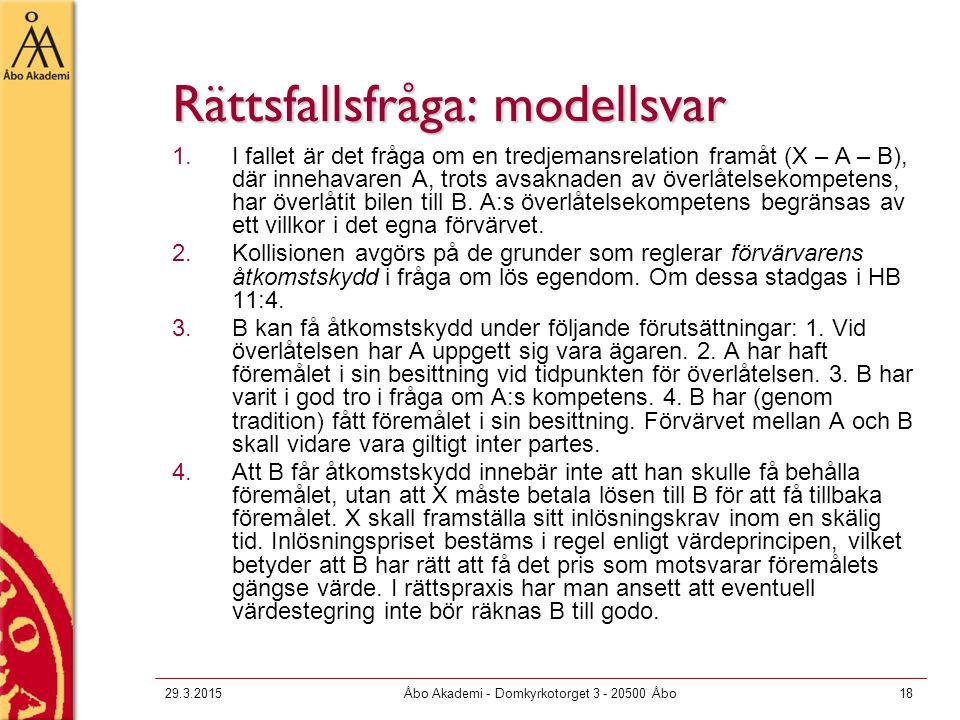 Rättsfallsfråga: modellsvar