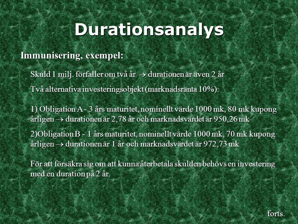 Durationsanalys Immunisering, exempel: