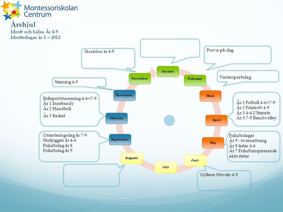 Årshjul Idrott och hälsa År 4-9 Idrottsdagar år 1 = 2012 Prova-på-dag
