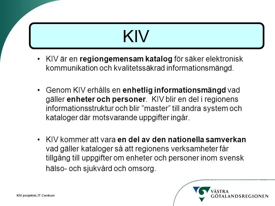 KIV KIV är en regiongemensam katalog för säker elektronisk kommunikation och kvalitetssäkrad informationsmängd.