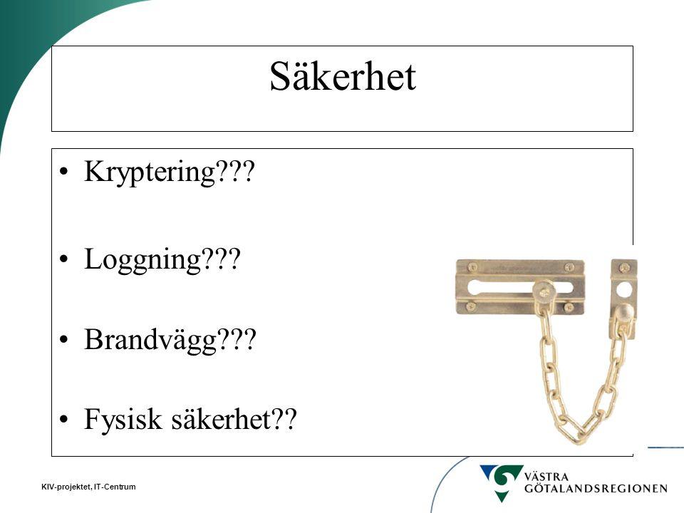 Säkerhet Kryptering Loggning Brandvägg Fysisk säkerhet