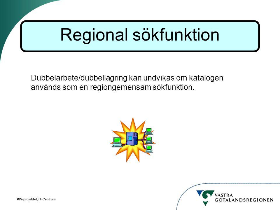 Regional sökfunktion Dubbelarbete/dubbellagring kan undvikas om katalogen används som en regiongemensam sökfunktion.