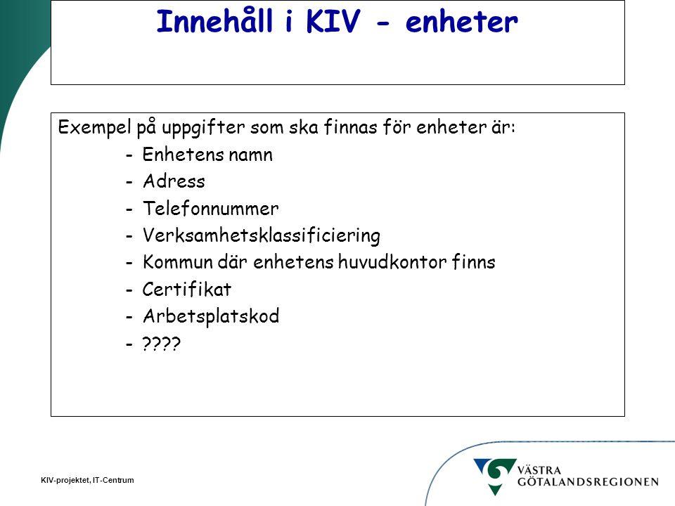 Innehåll i KIV - enheter
