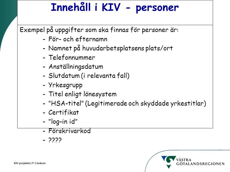 Innehåll i KIV - personer