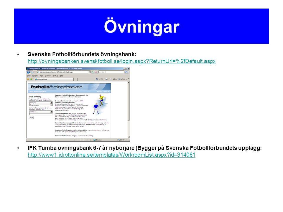 Övningar Svenska Fotbollförbundets övningsbank: http://ovningsbanken.svenskfotboll.se/login.aspx ReturnUrl=%2fDefault.aspx.